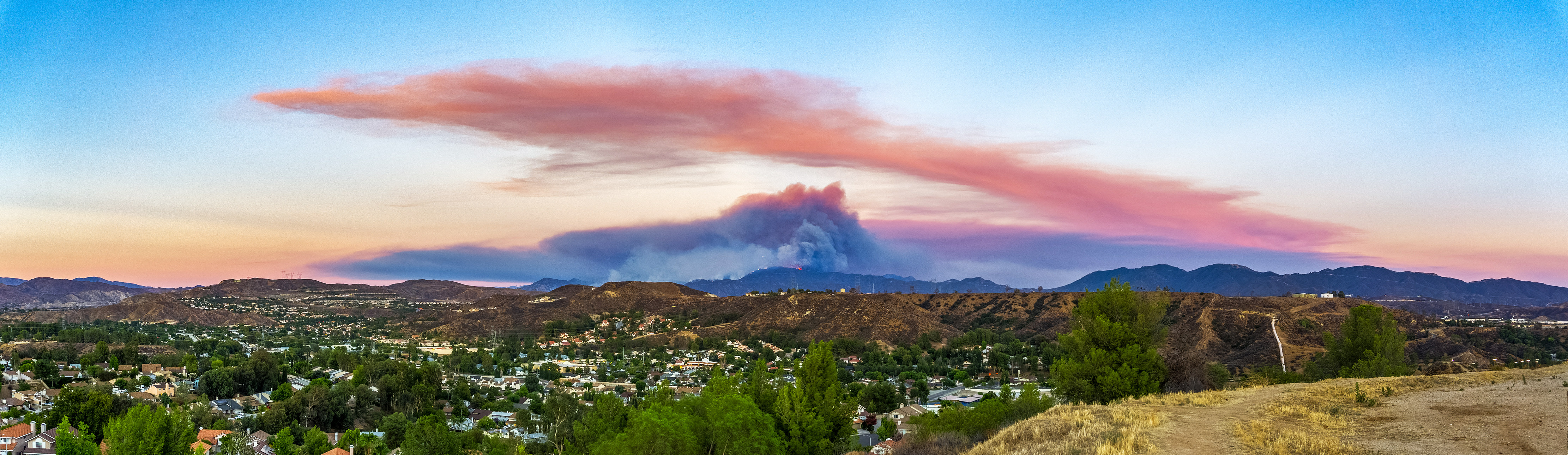 Sand Fire At Sunset Pano
